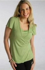 Faux Wrap Nursing Shirt - Green, S
