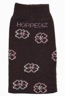 Hoppediz legwarmer - grey with white, pink flowers