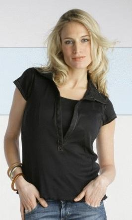 Embroidered Collar Nursing Shirt - Black, L