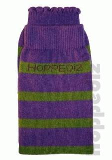 Hoppediz legwarmer - purple/green stripe