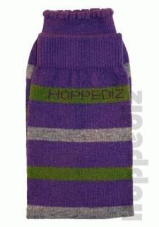 Hoppediz legwarmer - purple/green/grey stripe