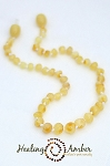 Cream Circle Amber Necklace - 17-18.5 inches