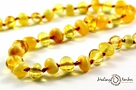 Duo Liquid Gold & Cream Circle Amber Necklace - 17-18.5 inches