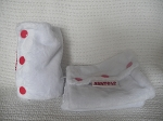 Baby Spats - White Minkee with Red Snaps